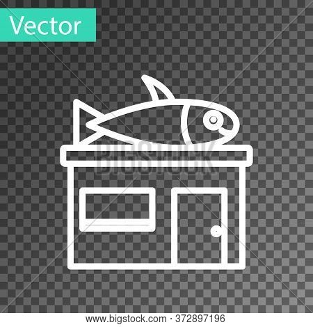 White Line Seafood Store Icon Isolated On Transparent Background. Facade Of Seafood Market. Vector.