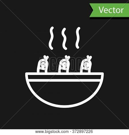 White Line Soup With Shrimps Icon Isolated On Black Background. Tom Yum Kung Soup. Vector.