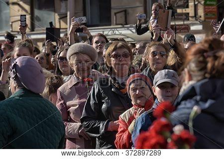 Citizens On Nevsky Prospekt On Victory Day