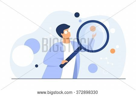 Scientist Doing Scientific Research. Cartoon Character Using Magnifying Glass, Studying Neuron Algor