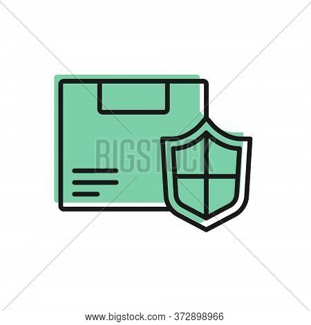 Black Line Delivery Security With Shield Icon Isolated On White Background. Delivery Insurance. Insu