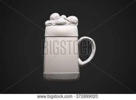 3d Render Of Beer In Glass Draught, Hand, Liquid, Bubble, Froth, Full, Splashing, Foam