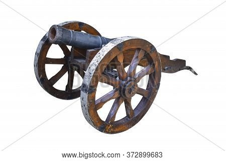 Old Ancient Cannon. Battle Cannon From Medieval Ages Isolated On White Background