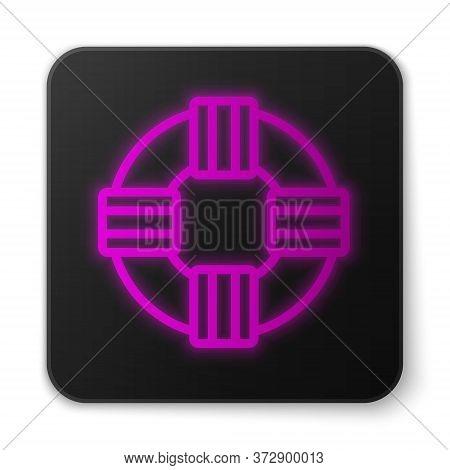 Glowing Neon Line Lifebuoy Icon Isolated On White Background. Lifebelt Symbol. Black Square Button.