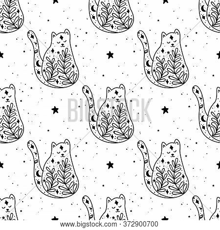 Seamless Pattern Black Witch Cat. Mystical Animal. Mystical Illustration, Religion And Symbolism In