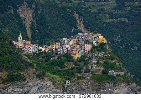 Corniglia, A Cinque Terra Mountain Village And Tourist Attraction On The Steep Coast Of The Mediterr