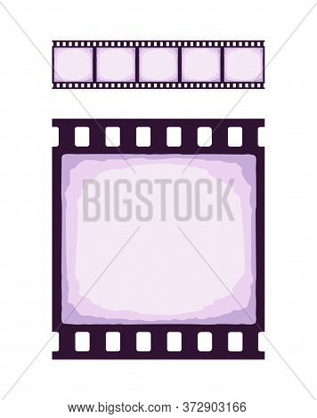 Seamless Template Of Cinema Or Photo Strip. Realistic Colored Retro Pattern Of Filmstrip For Brush.