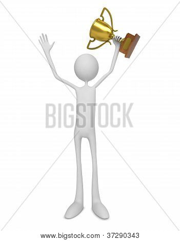3D White Man Celebrating with Trophy. Victory Concept. poster