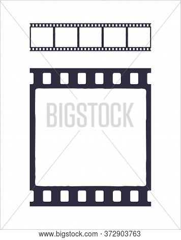 Seamless Template Of Silhouette Of Cinema Or Photo Strip. Simple Black Retro Pattern Of Filmstrip Fo