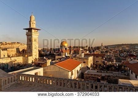 Sunset View Old City Of Jerusalem From Ecce Homo Pilgrim House Roof, Via Dolorosa Street. El-ghawani