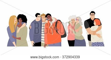 Set Of People Hugging Their Friends. Friendship Concept On The Example Of Men And Women Of Different