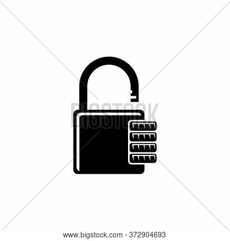 Combination Padlock, Password Code Lock. Flat Vector Icon Illustration. Simple Black Symbol On White