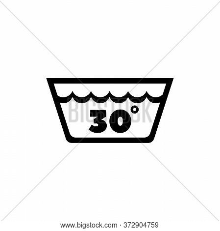 Delicate Gentle Thirty Degrees Washing Laundry. Flat Vector Icon Illustration. Simple Black Symbol O