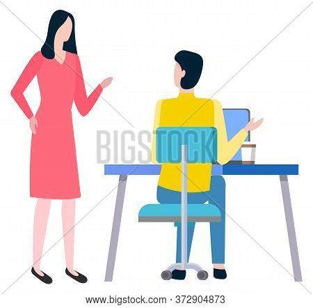 Man Sitting At Work Place And Woman Broker, Cooperation And Teamwork. Vector Cartoon Style People Bu