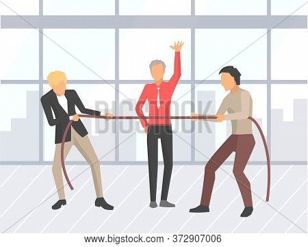 Business Competition Vector, Businessman Pulling Ropes. People And Boss Saying To Start, Competitive