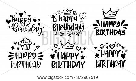 Happy Birthday Lettering Sign Quote Typography Set. Calligraphy Design For Card, Print Poster Graphi