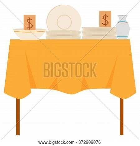 Table With Tablecloth And Dishware, Ceramic Plate, Bowl And Jug With Dollar Sticker. Crockery Goods