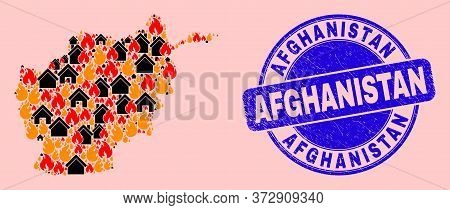Fire Disaster And Property Collage Afghanistan Map And Afghanistan Scratched Watermark. Vector Colla