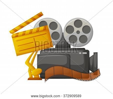 Filmmaking Industry Equipment And Award Vector, Golden Prize For Best Film Movie Presentation , Cine