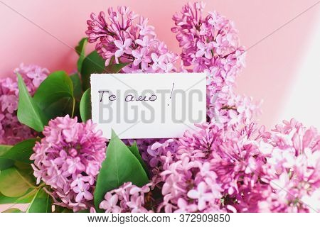 Inscription I Love You On Spanish On A White Gift Card In A Beautiful Bouquet Of Lilac Flowers