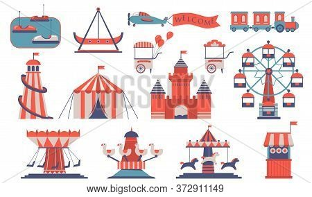 Various Amusements And Carousels Flat Icon Set. Cartoon City Funfair And Playground For Children Iso