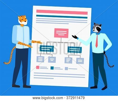 Hipster Animal Raccoon And Tiger Discussing, Scheme Report. Portrait View Of Standing Colleagues, En