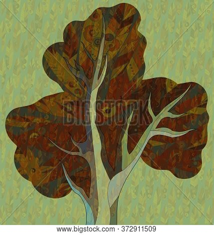 Green Color Background Image Of The Abstract Autumn Tree