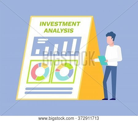 Investment Analysis Vector, Person Giving Presentation Male Wearing Formal Suit Showing Infochart Co