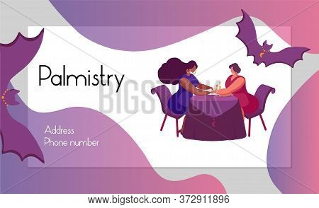 .business Card Design For Astrologer, Fortune Teller, Magician. Vector Illustration Predicts The Fut