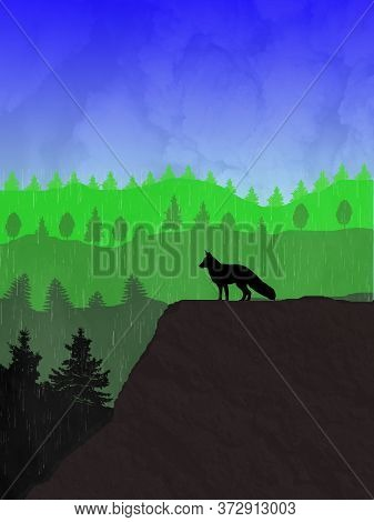 Raining Nature Landscape Illustration Scenery Of Mountains , Trees And Forest , Blue Sky With Rainin