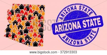 Fire Disaster And Realty Composition Arizona State Map And Arizona State Rubber Stamp Imitation. Vec