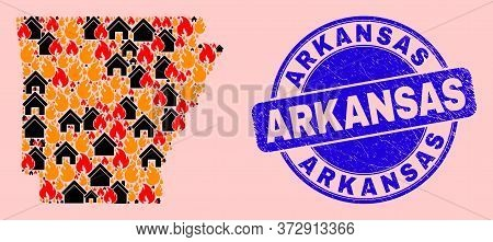 Fire Hazard And Property Collage Arkansas State Map And Arkansas Grunge Watermark. Vector Collage Ar