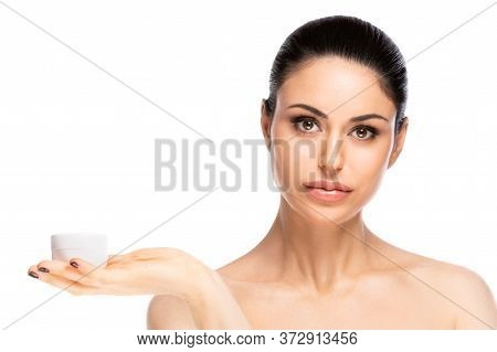 Skincare Concept.young Pretty Woman Holding Cosmetic Cream Jar, Isolated