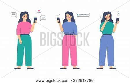 Smiling Girl Sends Messages Via Smartphone. Young Happy Woman Uses Mobile Phone For The Call. Mobile