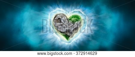 Island In The Sea, In The Form Of A Heart, Top View. Abstract Natural Sea Landscape With The Island.