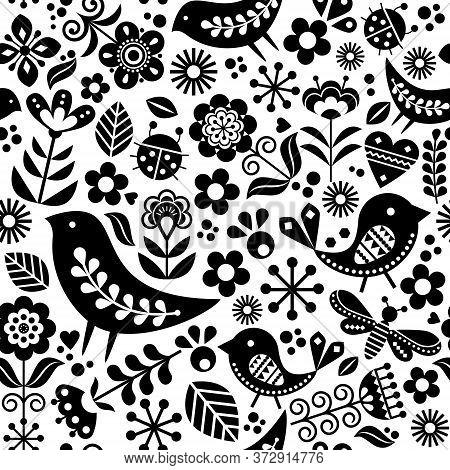 Scandinavian Folk Art Vector Seamless Pattern With Birds, Flowers, Spirng Happy Textile Design Inspi