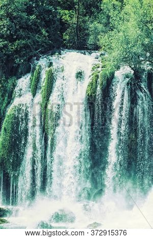 Kravice Waterfall On The Trebizat River In Bosnia And Herzegovina. Miracle Of Nature In Bosnia And H