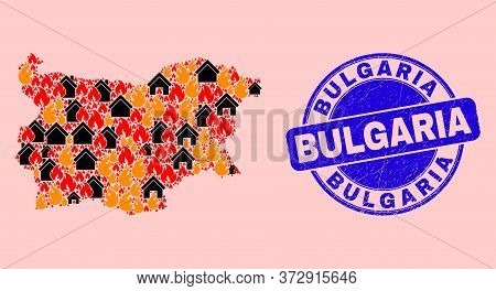 Fire Hazard And Houses Composition Bulgaria Map And Bulgaria Unclean Seal. Vector Collage Bulgaria M