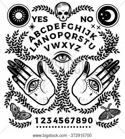 Ouija Board With Hands With Eyes. Vector Illustration.