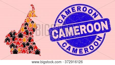 Fire Disaster And Homes Collage Cameroon Map And Cameroon Corroded Stamp. Vector Collage Cameroon Ma