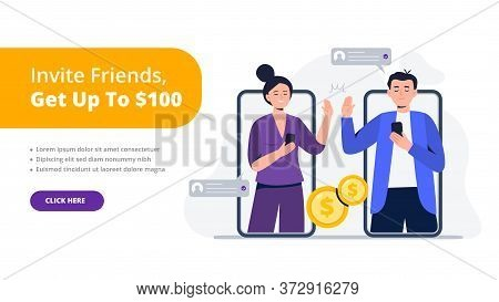 A Couple Of Friends Give A High Five. Refer A Friend Concept. Social Media Marketing For Friends. Tr