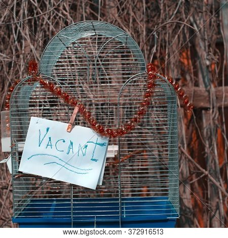 Closeup Of An Empty Bird Cage, With Attached Message Vacant
