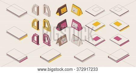 Isometric Outline Full Color Set Work Desk Accessories. 3d Calendar, Magazine Box File, Magazine, Bo