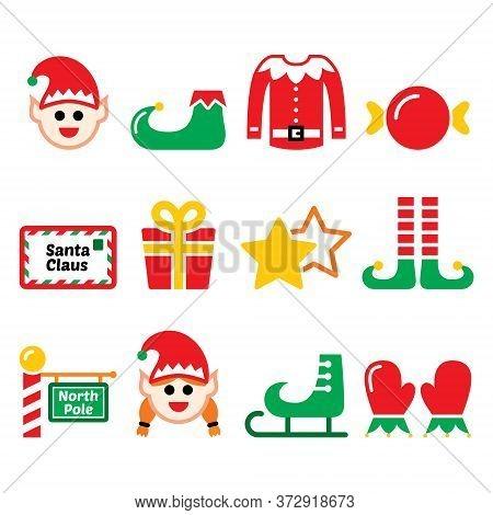 Elf, Christmas Vector Icons Set - North Pole, Santa's Little Helpers Design