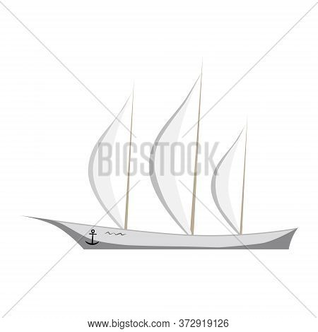 Elegant Sailing Yacht Isolated On White. White Sailboat. An Anchor Hangs On Board. Tall Masts With T