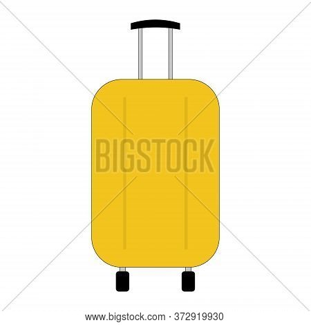 Travel Suitcase On Wheels With A Pulled Out Handle Isolated On White. Yellow Plastic Modern Travel S