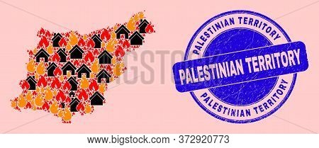 Fire Hazard And Property Collage Gipuzkoa Province Map And Palestinian Territory Grunge Stamp Seal.