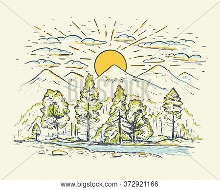 High Mountain Ranges With Forest, River, Clouds, Sunrise Or Sunset. Landscape. Sketch Hand Drawn Col