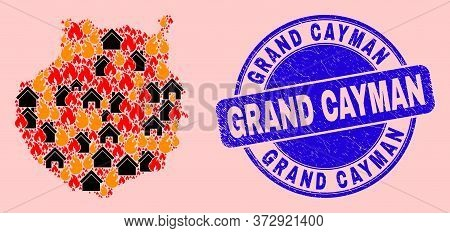 Fire Hazard And Buildings Mosaic Gran Canaria Map And Grand Cayman Corroded Stamp. Vector Mosaic Gra