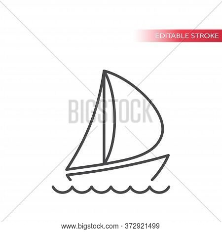 Boat Or Yacht Thin Line Vector Icon. Sailboat With Water Waves In The Sea Outline Symbol. Editable S